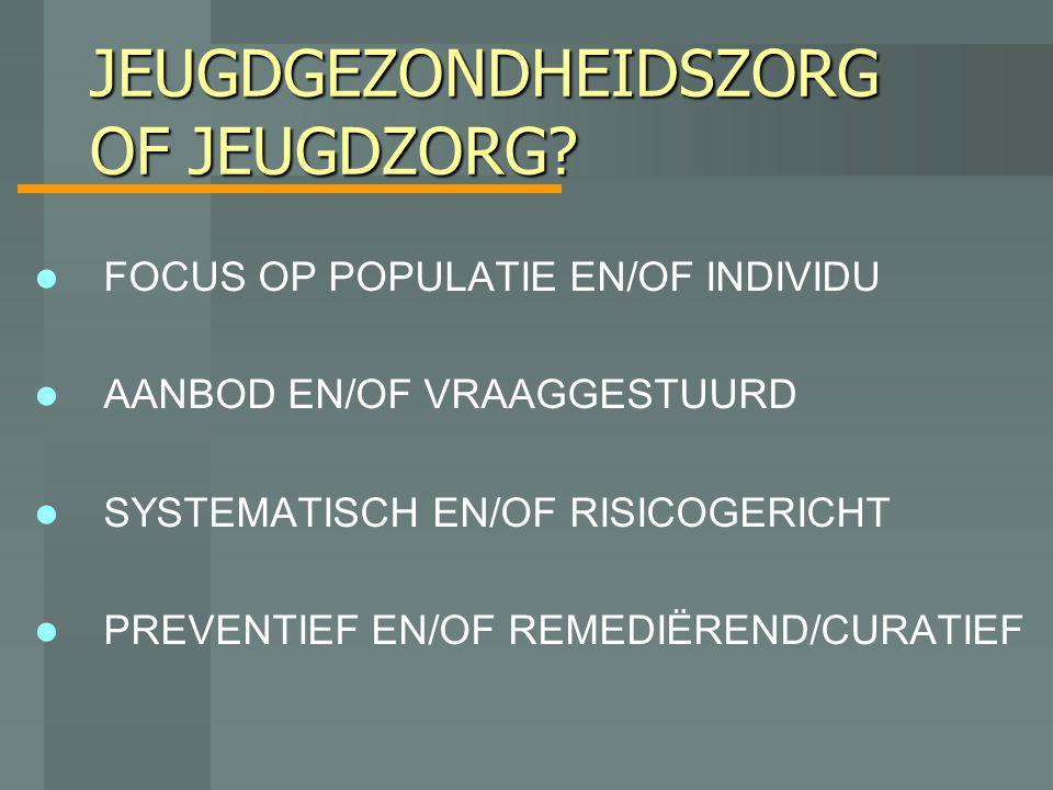 JEUGDGEZONDHEIDSZORG OF JEUGDZORG? FOCUS OP POPULATIE EN/OF INDIVIDU AANBOD EN/OF VRAAGGESTUURD SYSTEMATISCH EN/OF RISICOGERICHT PREVENTIEF EN/OF REME