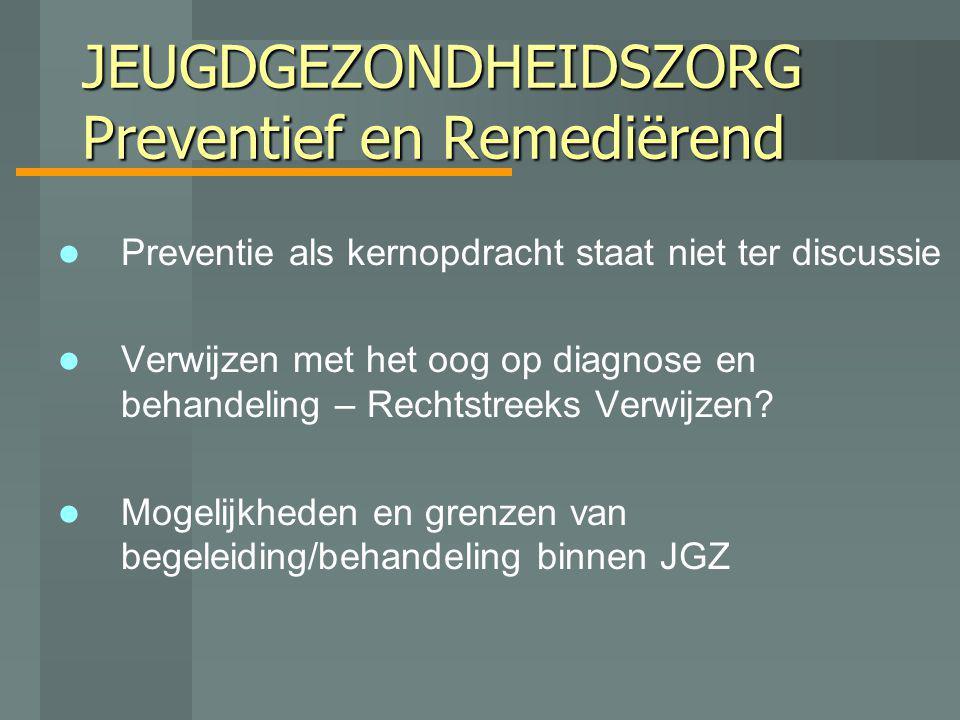 JEUGDGEZONDHEIDSZORG Preventief en Remediërend Preventie als kernopdracht staat niet ter discussie Verwijzen met het oog op diagnose en behandeling –