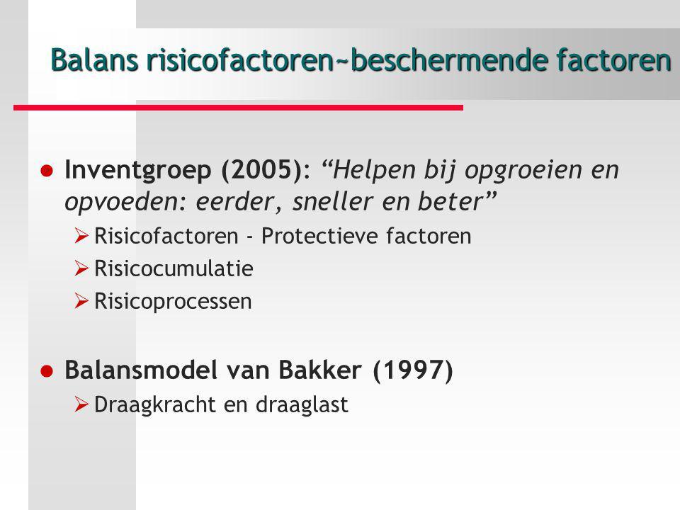 """Balans risicofactoren~beschermende factoren Inventgroep (2005): """"Helpen bij opgroeien en opvoeden: eerder, sneller en beter""""  Risicofactoren - Protec"""