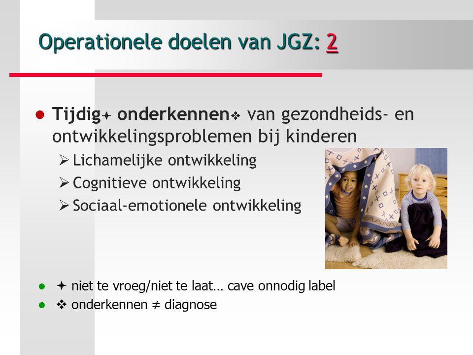 Operationele doelen van JGZ: 2 2 Tijdig  onderkennen  van gezondheids- en ontwikkelingsproblemen bij kinderen  Lichamelijke ontwikkeling  Cognitie