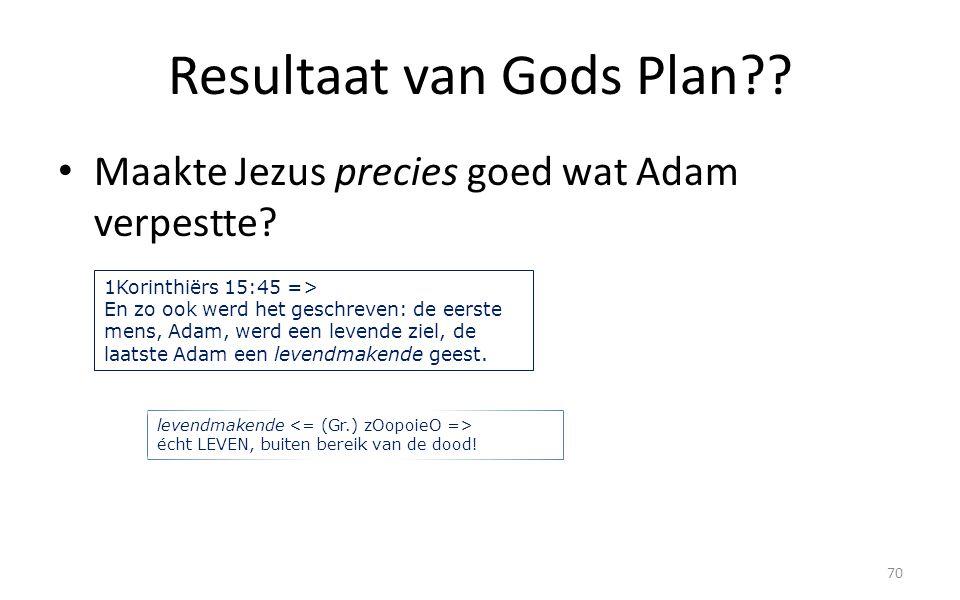 Resultaat van Gods Plan?? Maakte Jezus precies goed wat Adam verpestte? 70 1Korinthiërs 15:45 => En zo ook werd het geschreven: de eerste mens, Adam,