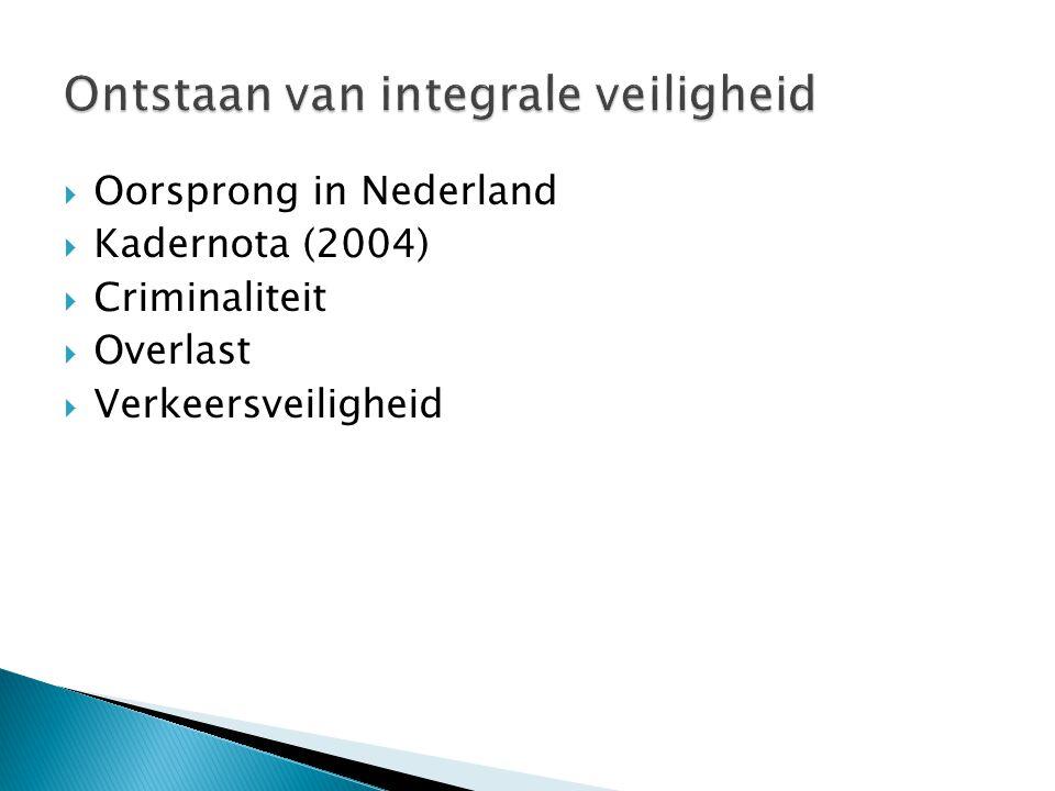  Oorsprong in Nederland  Kadernota (2004)  Criminaliteit  Overlast  Verkeersveiligheid