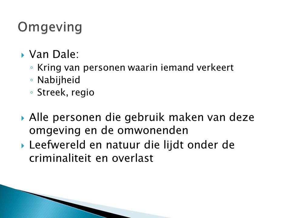  Van Dale: ◦ Kring van personen waarin iemand verkeert ◦ Nabijheid ◦ Streek, regio  Alle personen die gebruik maken van deze omgeving en de omwonend