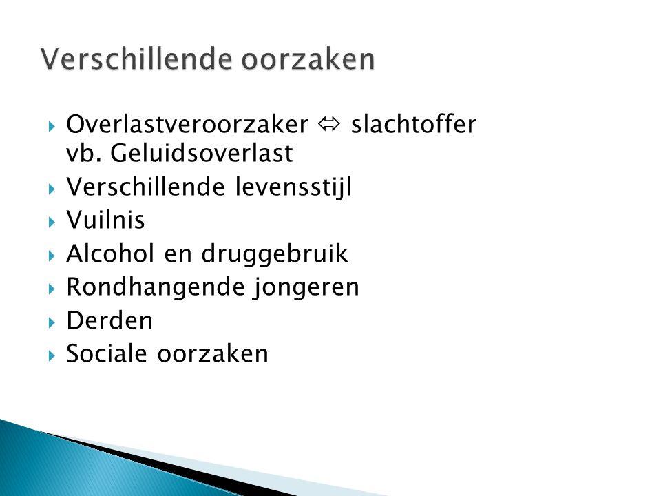  Overlastveroorzaker  slachtoffer vb. Geluidsoverlast  Verschillende levensstijl  Vuilnis  Alcohol en druggebruik  Rondhangende jongeren  Derde