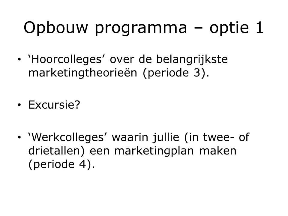 Opbouw programma – optie 1 'Hoorcolleges' over de belangrijkste marketingtheorieën (periode 3).