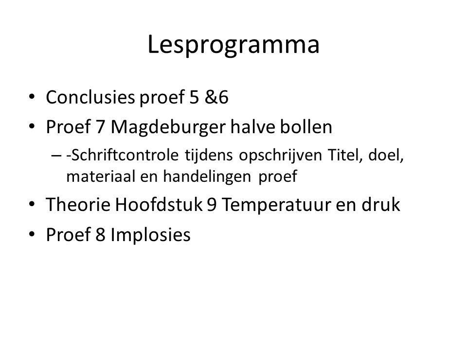 Lesprogramma Conclusies proef 5 &6 Proef 7 Magdeburger halve bollen – -Schriftcontrole tijdens opschrijven Titel, doel, materiaal en handelingen proef
