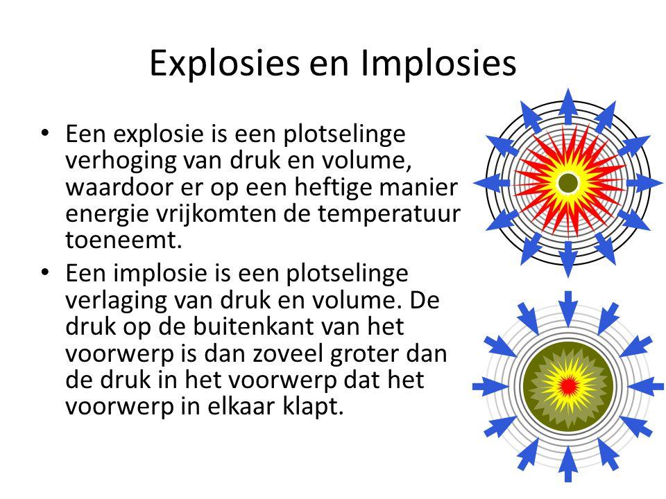 Explosies en Implosies Een explosie is een plotselinge verhoging van druk en volume, waardoor er op een heftige manier energie vrijkomten de temperatu