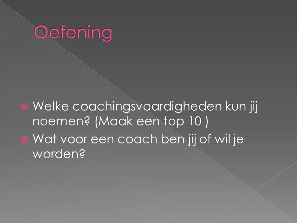  Welke coachingsvaardigheden kun jij noemen? (Maak een top 10 )  Wat voor een coach ben jij of wil je worden?