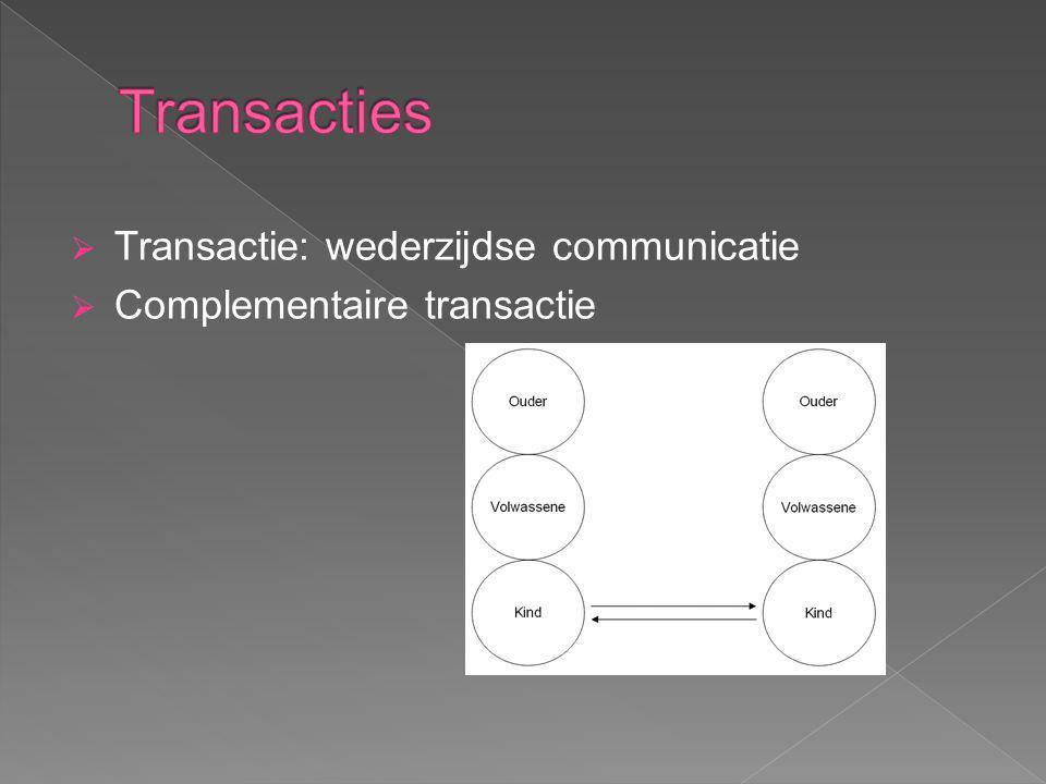  Transactie: wederzijdse communicatie  Complementaire transactie