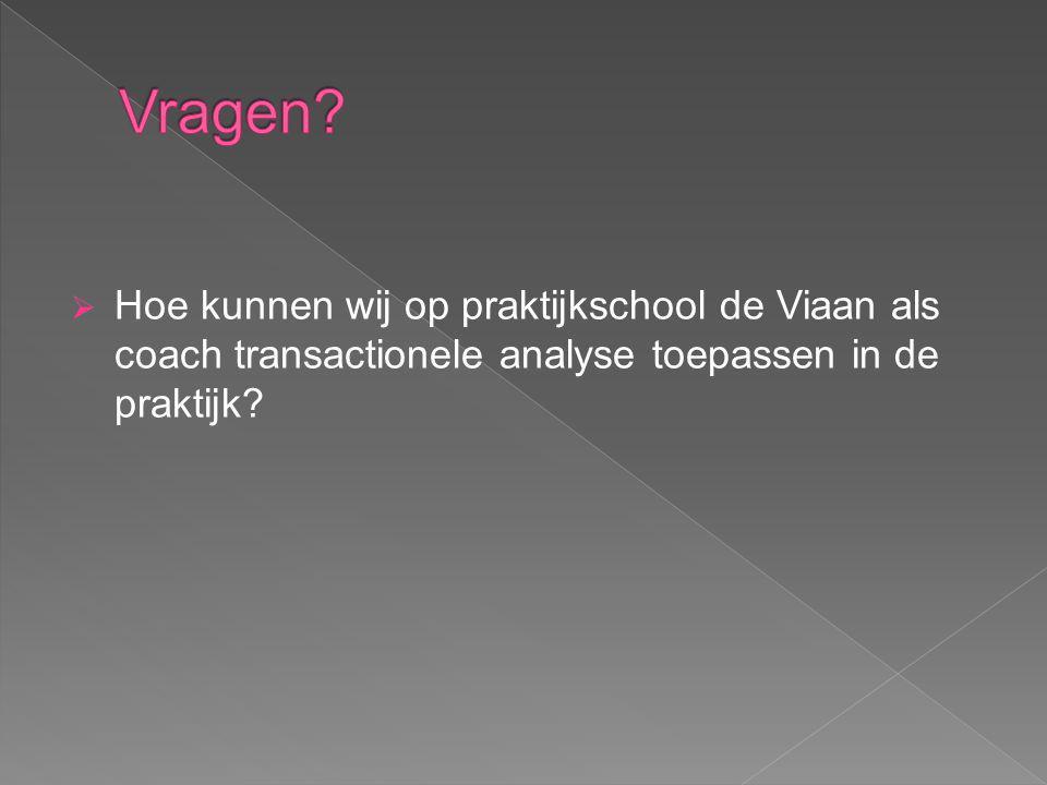  Hoe kunnen wij op praktijkschool de Viaan als coach transactionele analyse toepassen in de praktijk?