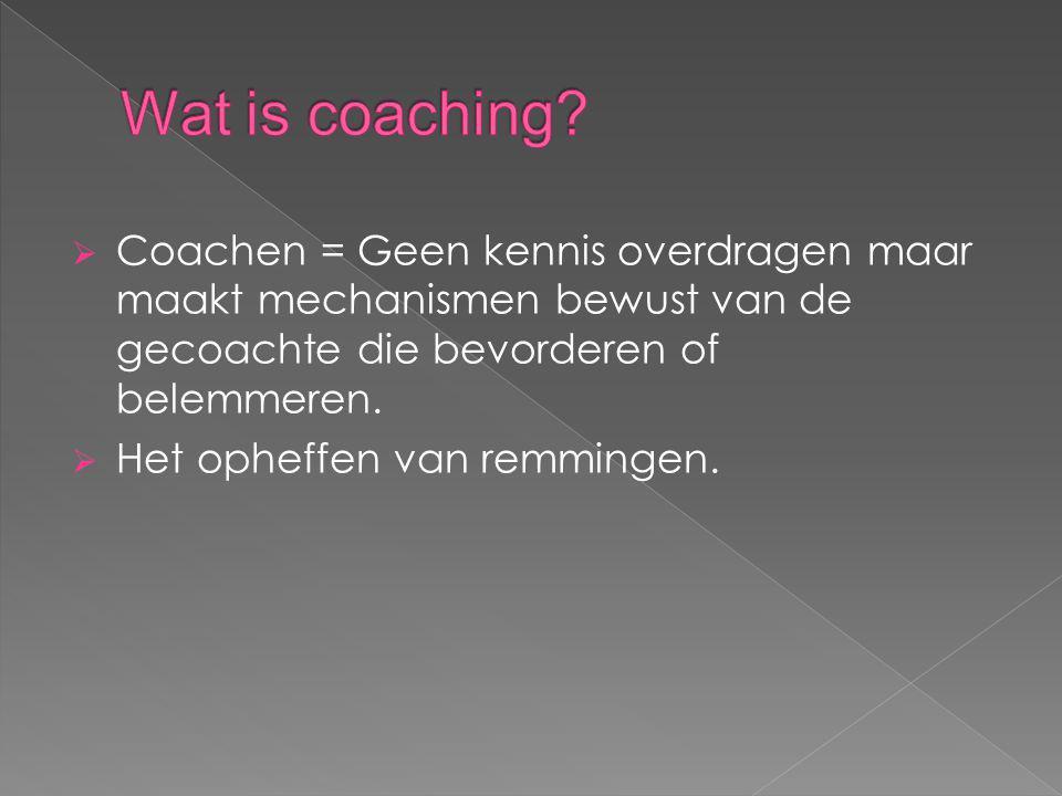  Coachen = Geen kennis overdragen maar maakt mechanismen bewust van de gecoachte die bevorderen of belemmeren.  Het opheffen van remmingen.