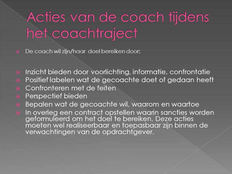  De coach wil zijn/haar doel bereiken door;  Inzicht bieden door voorlichting, informatie, confrontatie  Positief labelen wat de gecoachte doet of