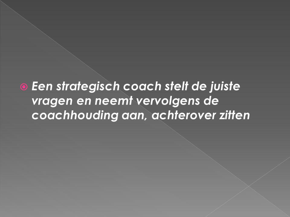  Een strategisch coach stelt de juiste vragen en neemt vervolgens de coachhouding aan, achterover zitten