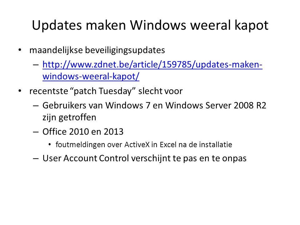 Updates maken Windows weeral kapot IE11 – voor alle versies van de browser op Windows Vista, Windows 7 en Windows 8/8.1