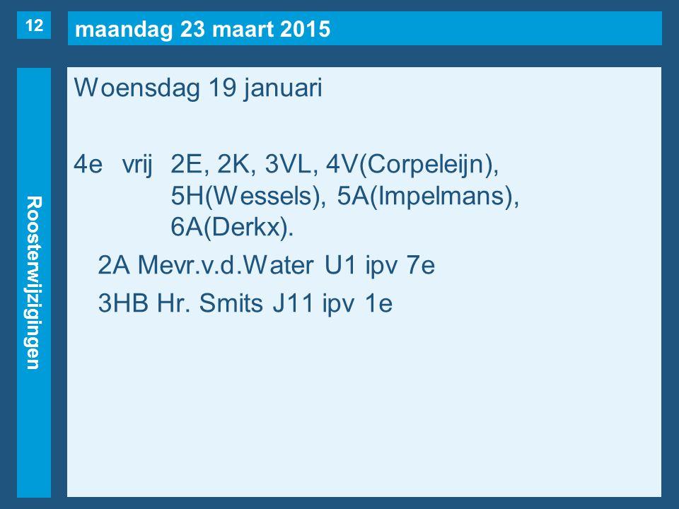 maandag 23 maart 2015 Roosterwijzigingen Woensdag 19 januari 4evrij2E, 2K, 3VL, 4V(Corpeleijn), 5H(Wessels), 5A(Impelmans), 6A(Derkx). 2A Mevr.v.d.Wat