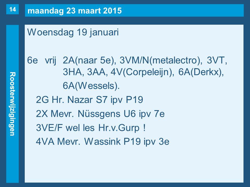 maandag 23 maart 2015 Roosterwijzigingen Woensdag 19 januari 6evrij2A(naar 5e), 3VM/N(metalectro), 3VT, 3HA, 3AA, 4V(Corpeleijn), 6A(Derkx), 6A(Wessels).
