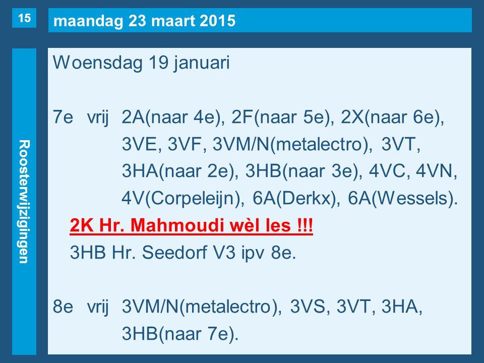 maandag 23 maart 2015 Roosterwijzigingen Woensdag 19 januari 7evrij2A(naar 4e), 2F(naar 5e), 2X(naar 6e), 3VE, 3VF, 3VM/N(metalectro), 3VT, 3HA(naar 2e), 3HB(naar 3e), 4VC, 4VN, 4V(Corpeleijn), 6A(Derkx), 6A(Wessels).
