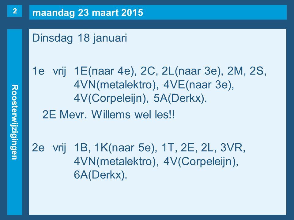 maandag 23 maart 2015 Roosterwijzigingen Dinsdag 18 januari 1evrij1E(naar 4e), 2C, 2L(naar 3e), 2M, 2S, 4VN(metalektro), 4VE(naar 3e), 4V(Corpeleijn), 5A(Derkx).