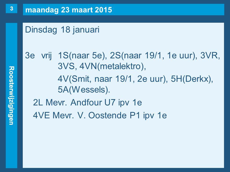 maandag 23 maart 2015 Roosterwijzigingen Dinsdag 18 januari 3evrij1S(naar 5e), 2S(naar 19/1, 1e uur), 3VR, 3VS, 4VN(metalektro), 4V(Smit, naar 19/1, 2e uur), 5H(Derkx), 5A(Wessels).