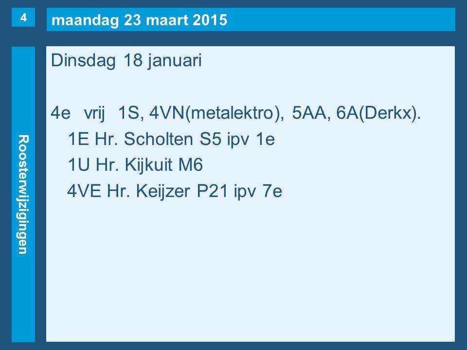 maandag 23 maart 2015 Roosterwijzigingen Dinsdag 18 januari 4evrij1S, 4VN(metalektro), 5AA, 6A(Derkx). 1E Hr. Scholten S5 ipv 1e 1U Hr. Kijkuit M6 4VE