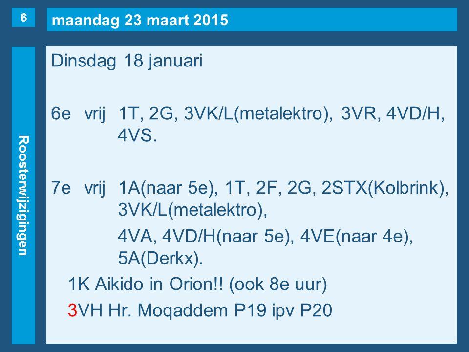 maandag 23 maart 2015 Roosterwijzigingen Dinsdag 18 januari 6evrij1T, 2G, 3VK/L(metalektro), 3VR, 4VD/H, 4VS. 7evrij1A(naar 5e), 1T, 2F, 2G, 2STX(Kolb