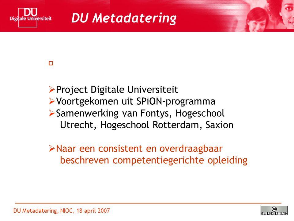 DU Metadatering, NIOC, 18 april 2007 DU Metadatering  Presentatie van het ontwikkelde model  Overzicht beschikbaar materiaal  Vragen Programma
