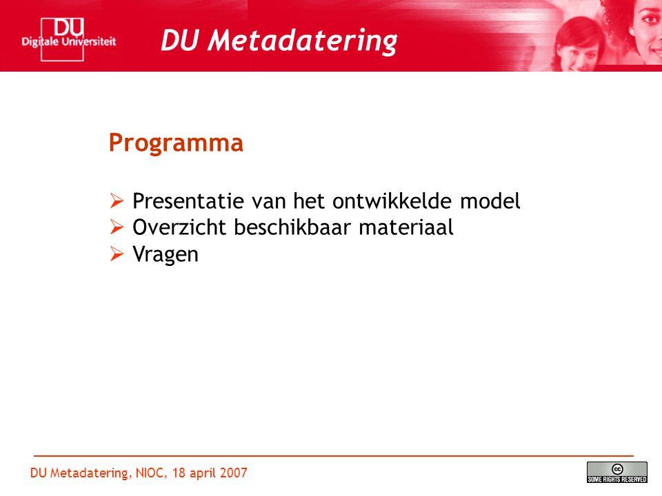 DU Metadatering, NIOC, 18 april 2007 DU Metadatering SPIoN Referentie Architectuur (Vodegel, 2005)
