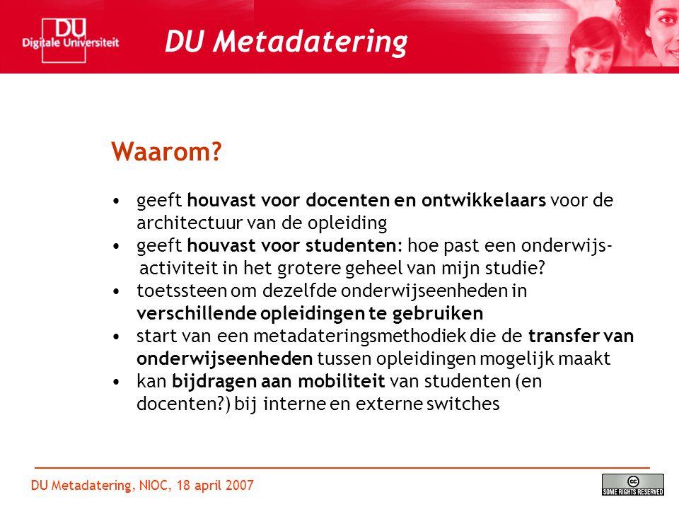 DU Metadatering, NIOC, 18 april 2007 DU Metadatering Hoe.