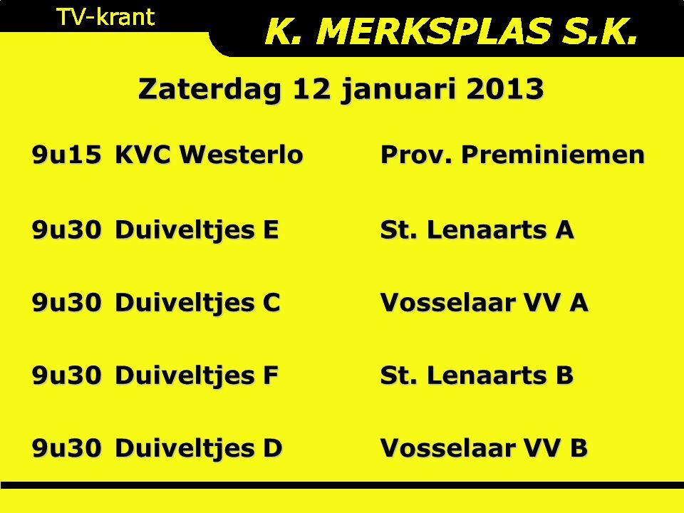 9u15 KVC Westerlo Prov. Preminiemen 9u30 Duiveltjes E St.