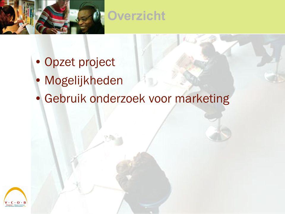 Overzicht Opzet project Mogelijkheden Gebruik onderzoek voor marketing
