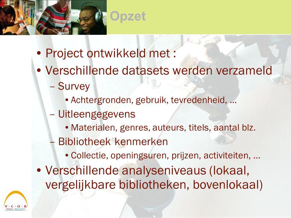 Opzet Project ontwikkeld met : Verschillende datasets werden verzameld –Survey Achtergronden, gebruik, tevredenheid, … –Uitleengegevens Materialen, ge