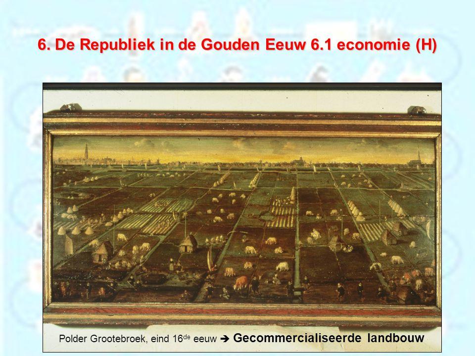 6. De Republiek in de Gouden Eeuw 6.1 economie (H) Polder Grootebroek, eind 16 de eeuw  Gecommercialiseerde landbouw