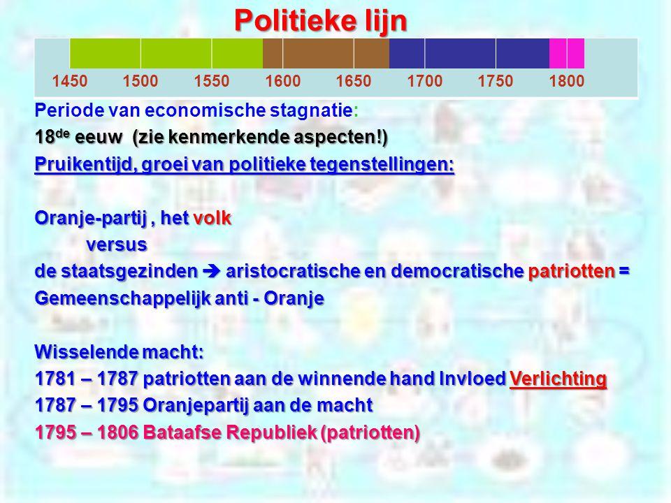 Politieke lijn 14501500155016001650170017501800 Periode van economische stagnatie: 18 de eeuw (zie kenmerkende aspecten!) Pruikentijd, groei van polit