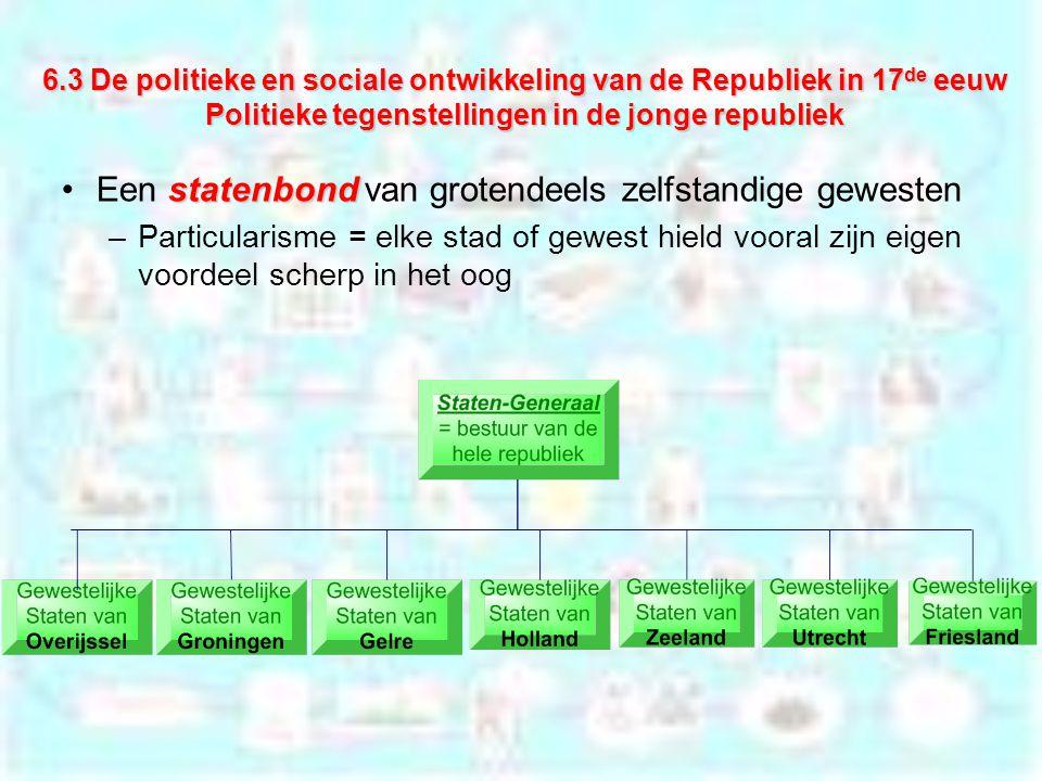 6.3 De politieke en sociale ontwikkeling van de Republiek in 17 de eeuw Politieke tegenstellingen in de jonge republiek statenbondEen statenbond van g
