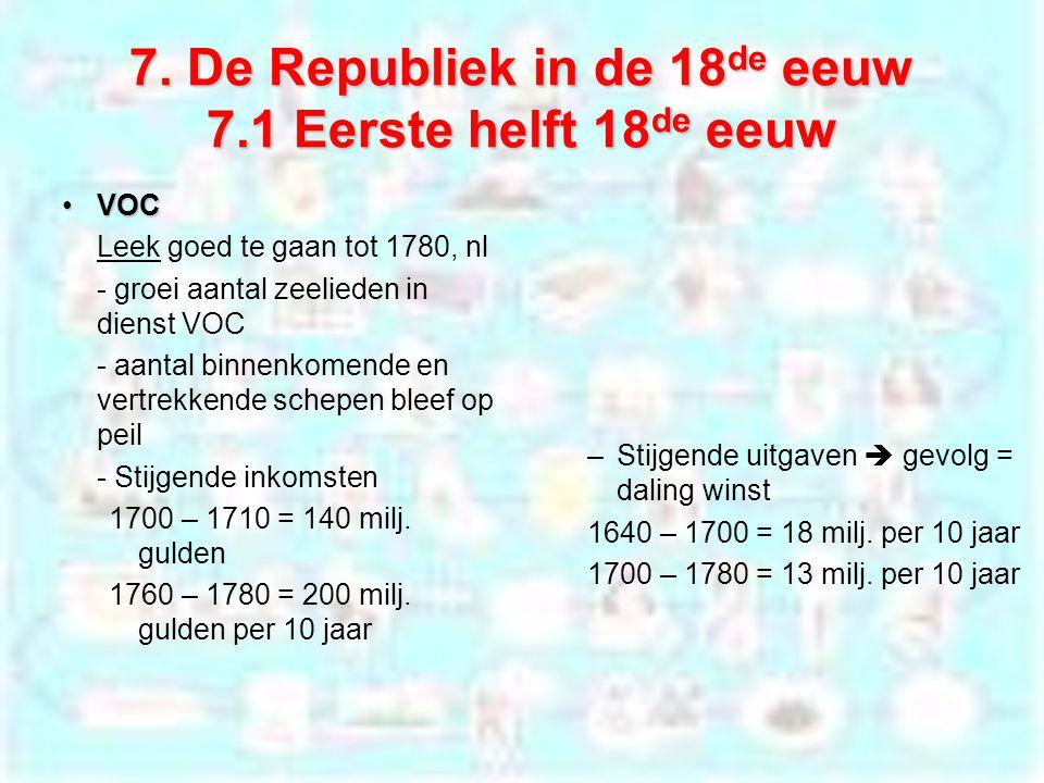 7. De Republiek in de 18 de eeuw 7.1 Eerste helft 18 de eeuw VOCVOC Leek goed te gaan tot 1780, nl - groei aantal zeelieden in dienst VOC - aantal bin