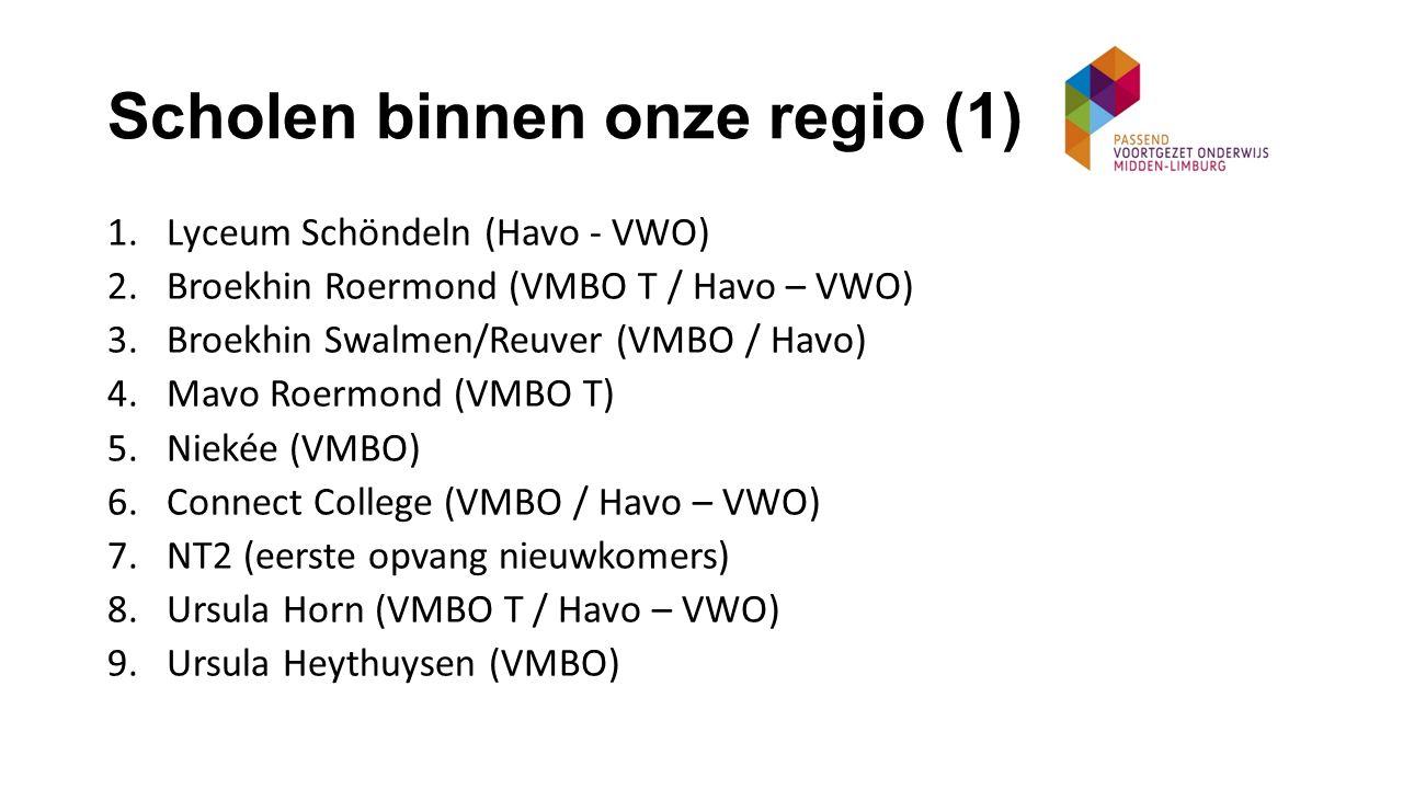 Scholen binnen onze regio (2) 11.Citaverde College Roermond (VMBO) 12.