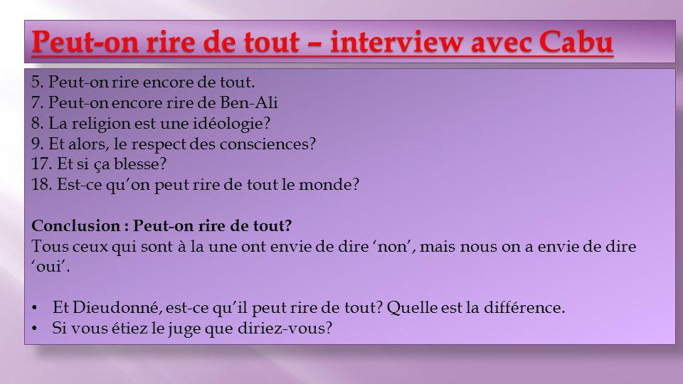 Peut-on rire de tout – interview avec Cabu Peut-on rire de tout – interview avec Cabu 5.