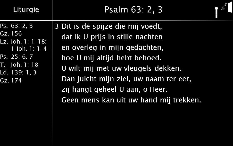 Liturgie Ps.63: 2, 3 Gz.156 Lz.Joh. 1: 1–18; 1 Joh. 1: 1–4 Ps.25: 6, 7 T.Joh. 1: 18 Ld.139: 1, 3 Gz.174 Psalm 63: 2, 3 3Dit is de spijze die mij voedt