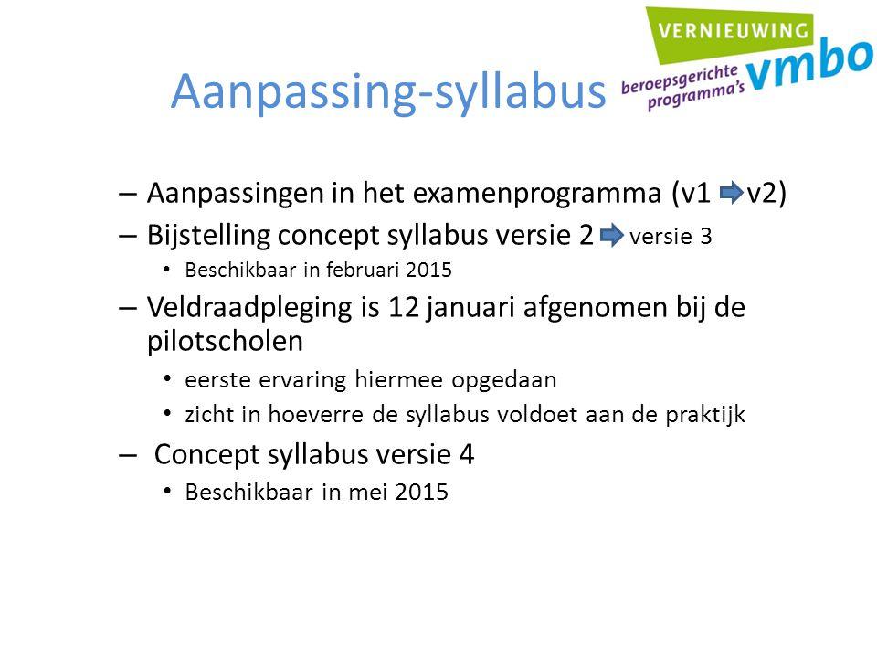Aanpassing-syllabus – Aanpassingen in het examenprogramma (v1 v2) – Bijstelling concept syllabus versie 2 versie 3 Beschikbaar in februari 2015 – Veld