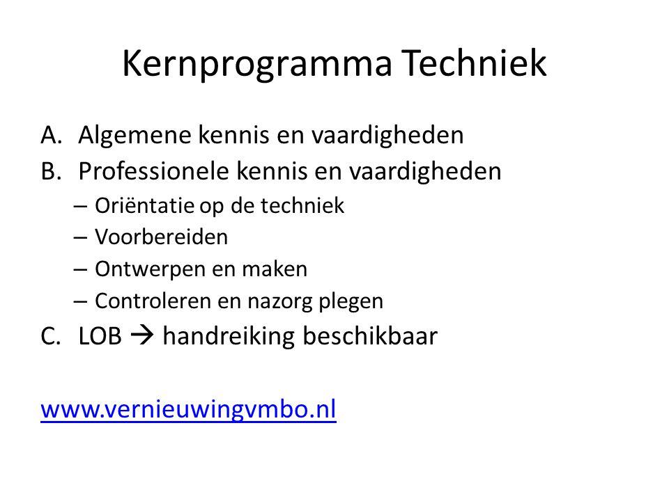 Kernprogramma Techniek A.Algemene kennis en vaardigheden B.Professionele kennis en vaardigheden – Oriëntatie op de techniek – Voorbereiden – Ontwerpen