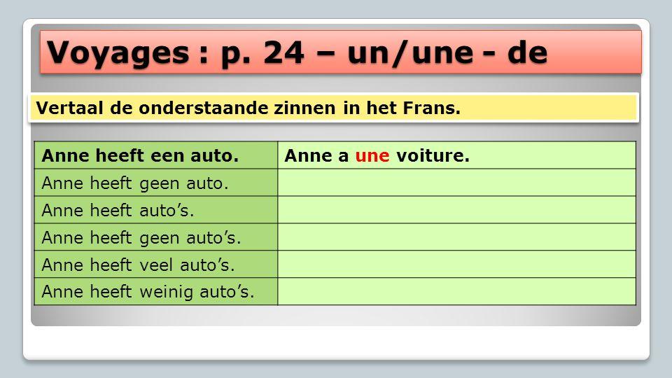 Voyages : p. 24 – un/une - de Anne heeft een auto.Anne a une voiture. Anne heeft geen auto. Anne heeft auto's. Anne heeft geen auto's. Anne heeft veel
