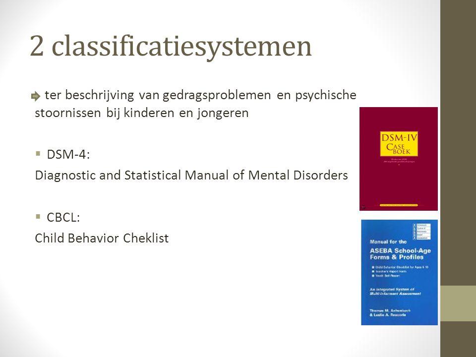 = systeem om problematiek van individuen te beschrijven en te classificeren in zogenaamde stoorniscategorieën De beoordeling vindt plaats op 5 assen: 1.Klinische stoornissen 2.Persoonlijkheidsstoornissen en zwakzinnigheid 3.Somatische aandoeningen 4.Psychosociale en omgevingsproblemen 5.Algehele beoordeling van het functioneren DSM-4