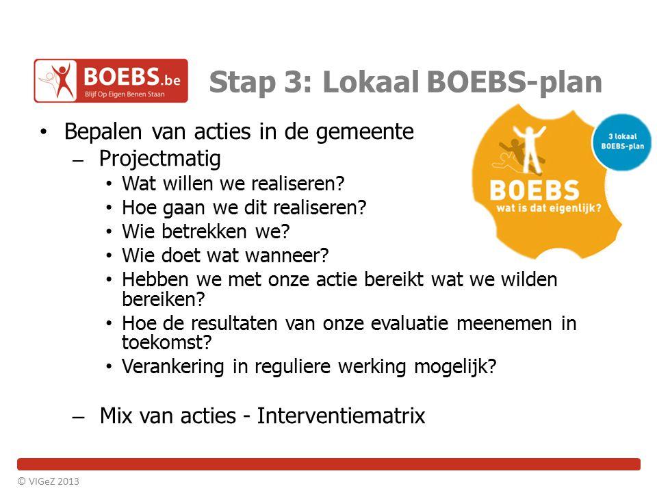 Stap 3: Lokaal BOEBS-plan Bepalen van acties in de gemeente – Projectmatig Wat willen we realiseren? Hoe gaan we dit realiseren? Wie betrekken we? Wie