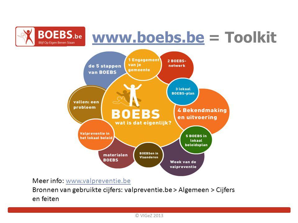 www.boebs.bewww.boebs.be = Toolkit © VIGeZ 2013 Meer info: www.valpreventie.bewww.valpreventie.be Bronnen van gebruikte cijfers: valpreventie.be > Alg