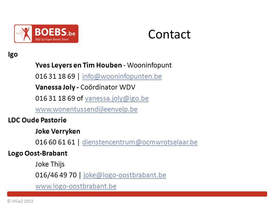 Contact Igo Yves Leyers en Tim Houben - Wooninfopunt 016 31 18 69 | info@wooninfopunten.beinfo@wooninfopunten.be Vanessa Joly - Coördinator WDV 016 31