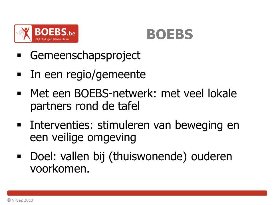 BOEBS  Gemeenschapsproject  In een regio/gemeente  Met een BOEBS-netwerk: met veel lokale partners rond de tafel  Interventies: stimuleren van bew