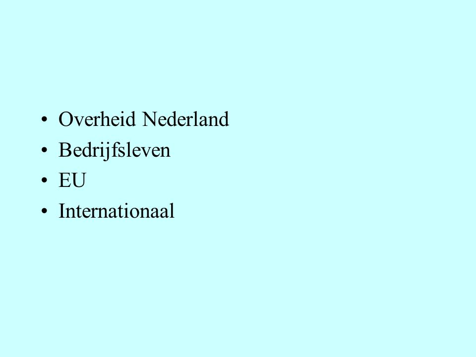 Overheid Nederland Bedrijfsleven EU Internationaal