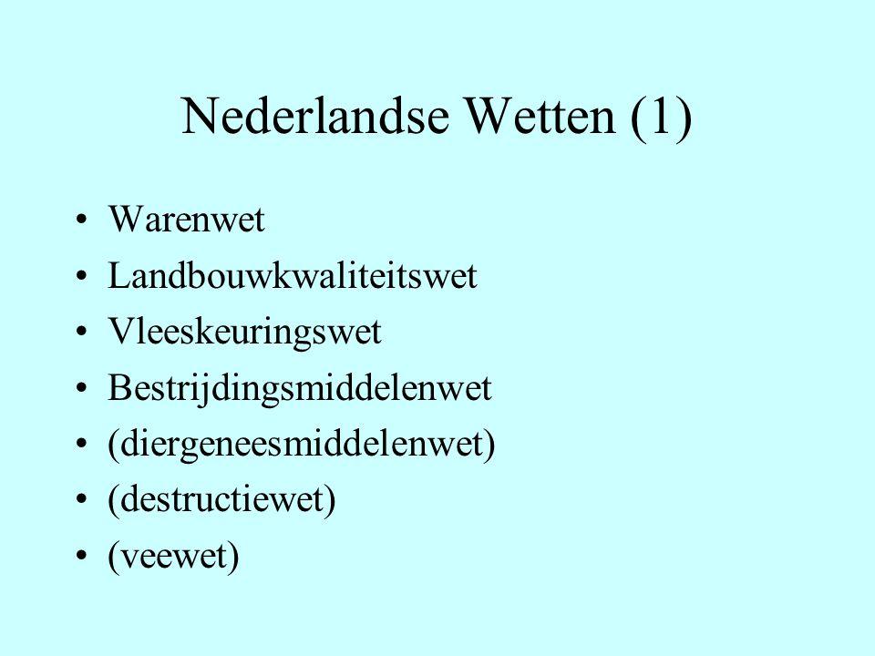 Nederlandse Wetten (1) Warenwet Landbouwkwaliteitswet Vleeskeuringswet Bestrijdingsmiddelenwet (diergeneesmiddelenwet) (destructiewet) (veewet)