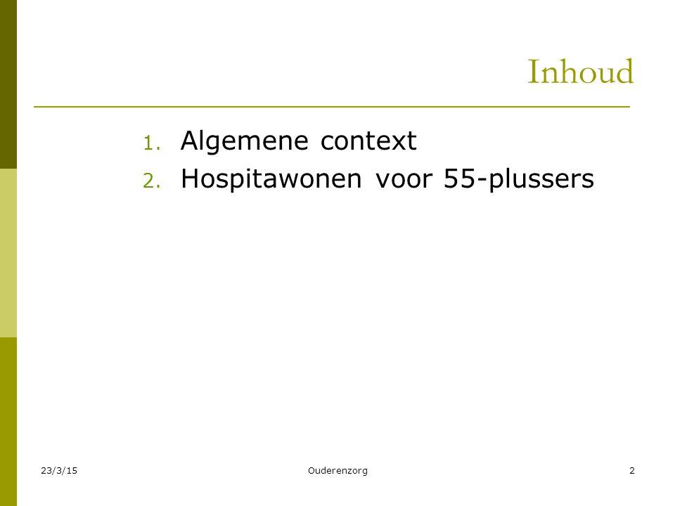 23/3/15Ouderenzorg2 Inhoud 1. Algemene context 2. Hospitawonen voor 55-plussers