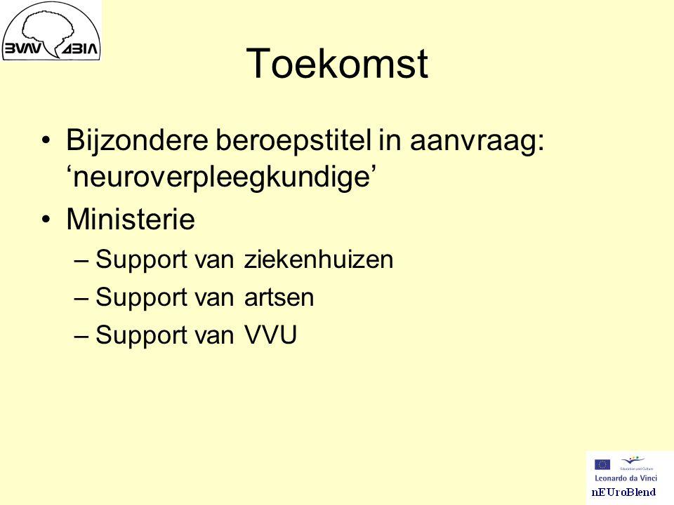 Toekomst Bijzondere beroepstitel in aanvraag: 'neuroverpleegkundige' Ministerie –Support van ziekenhuizen –Support van artsen –Support van VVU